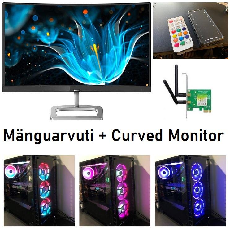 RYZEN 5 2600X Kuni 4.2GHz 8GB DDR4 RAM RX580 8GB Curved Monitor FHD HDMI 1080p 480GB SSD RAM WIFI