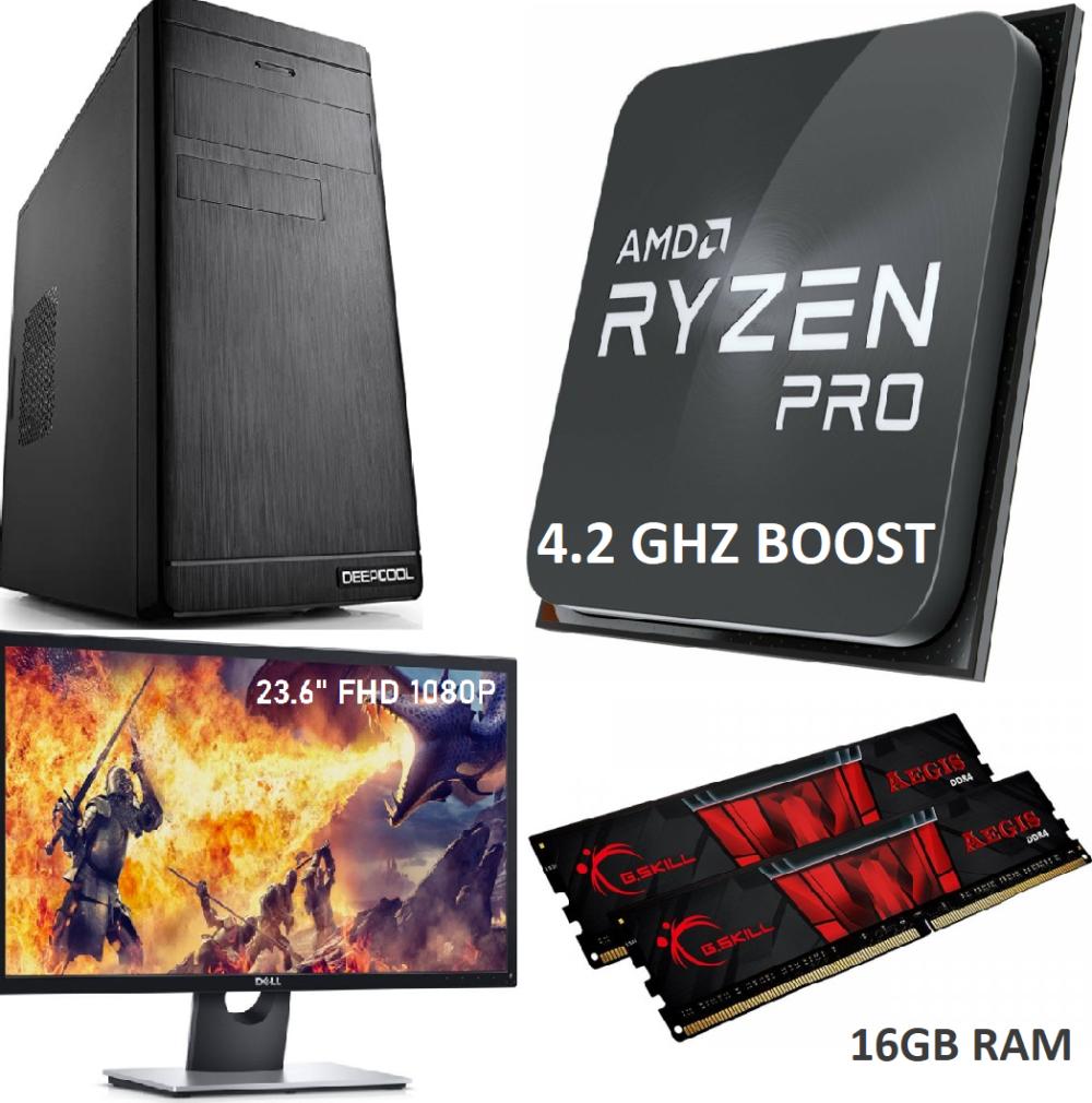 Mänguri Lauaarvuti + Monitor 24 - Ryzen 5 PRO (6 tuuma, 4.2GHz boost) 16GB RAM 500GB M.2 NVMe SSD WIN 10 PRO