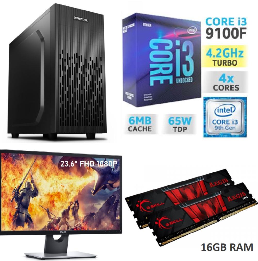 Mänguri Lauaarvuti Komplekt i3 4.2GHz Boost GTX 1650 8GB 16GB RAM 512GB SSD + MONITOR FHD 1080P