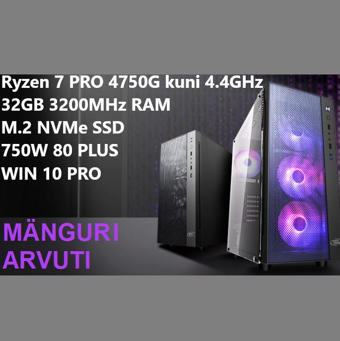 Mänguri lauaarvuti Ryzen 7 PRO 4750G kuni 4.4GHz, 32GB DDR4 3200MHz RAM, 500GB M.2 NVMe SSD, CORSAIR HX 750W 80 PLUS, WIN 10 PRO SAARDE ARVUTID