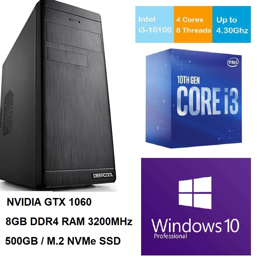 Mänguri Lauaarvuti i3-10100 4.30 GHz, GTX 1060, RAM 8GB 3200MHz, SSD M.2 500GB NVMe