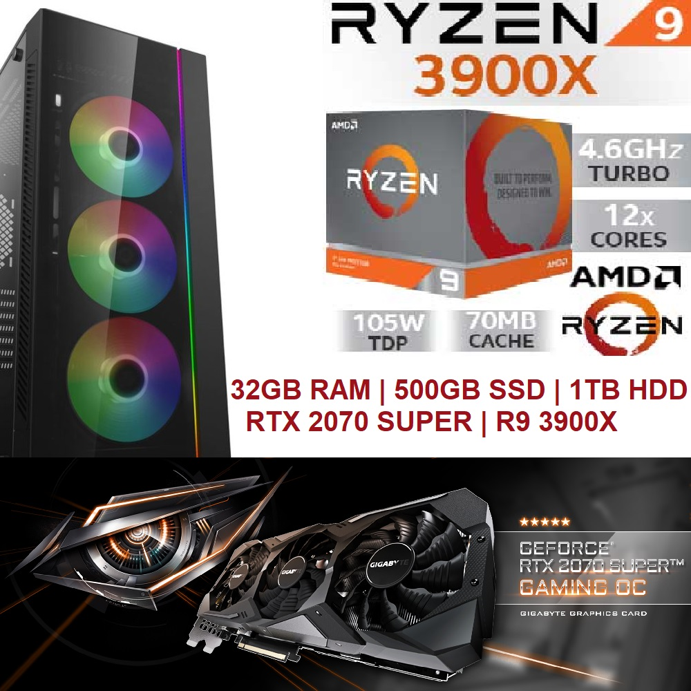 Ryzen 9 3900X 4.60 GHz, RTX 2070 SUPER, 32GB 3200MHz CL16 XMP 2.0, M.2 NVMe SSD 500GB + HDD 1TB, 700W RGB 80 Plus PSU