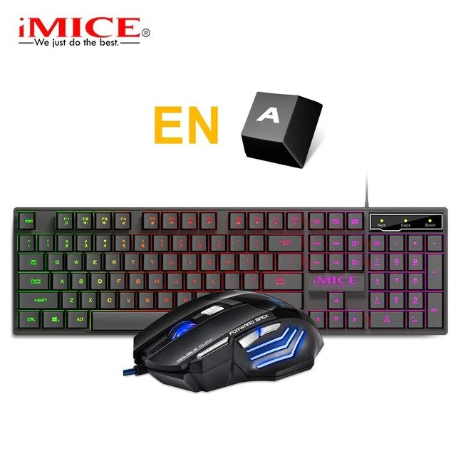 Mänguri klaviatuur RGB taustvalgustusega koos mänguri hiirega