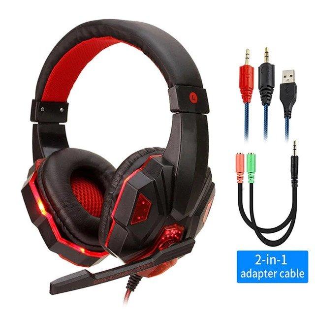 Mänguri kõrvaklapid mikrofoniga ja LED valgustusega