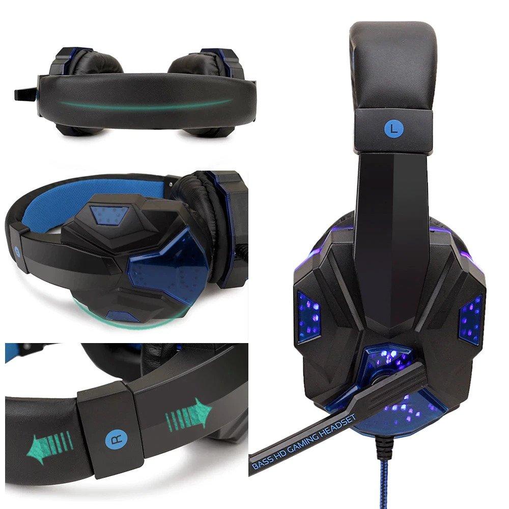 Mänguri kõrvaklapid mikrofoniga ja punase LED valgustusega
